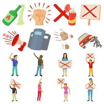 Zestaw ikon elementów protestu