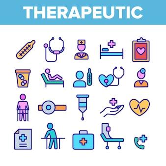 Zestaw ikon elementów terapeutycznych