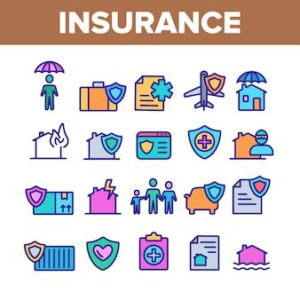 Zestaw ikon elementów ubezpieczenia