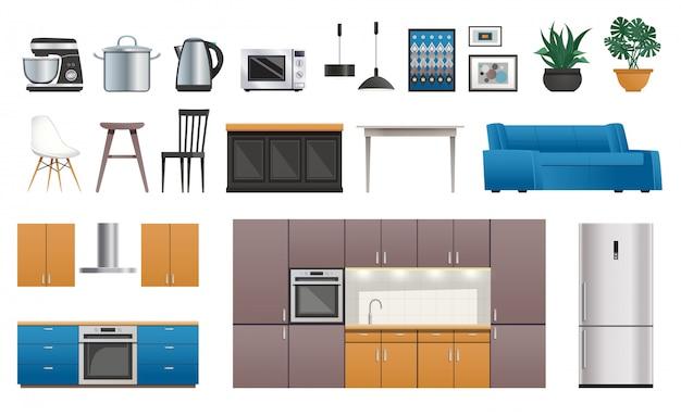 Zestaw ikon elementów wnętrza kuchni