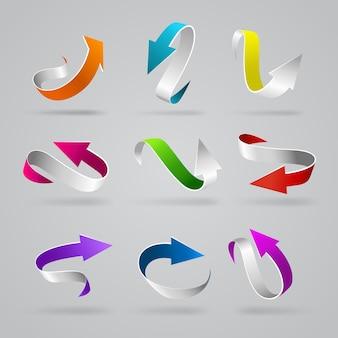 Zestaw ikon elementu sieci web stylowe błyszczące strzałki d kręcone kolorowe paski ciąg wskaźników elementy internetowe