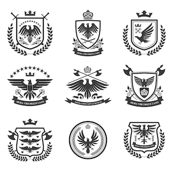 Zestaw ikon emblematów orła czarny