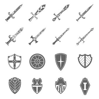 Zestaw ikon emblematy tarcza miecze