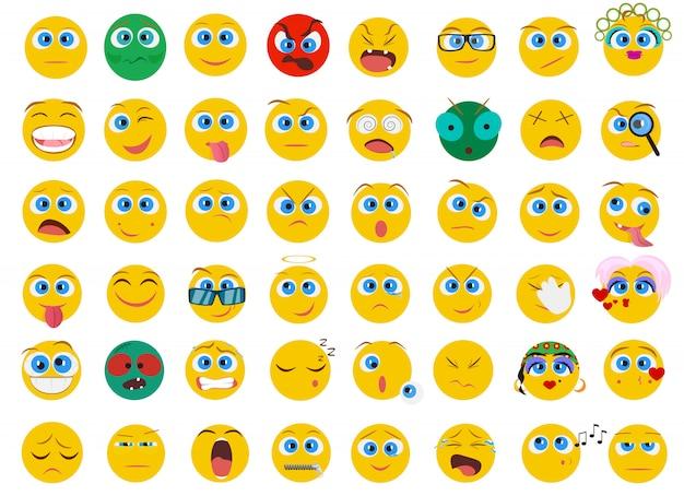 Zestaw ikon emocji twarzy emoji