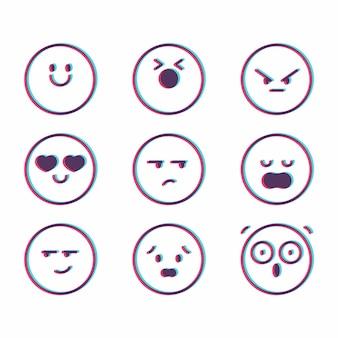 Zestaw ikon emoji glitch