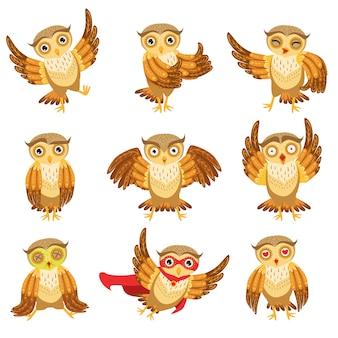 Zestaw ikon emoji ładny brązowy sowa