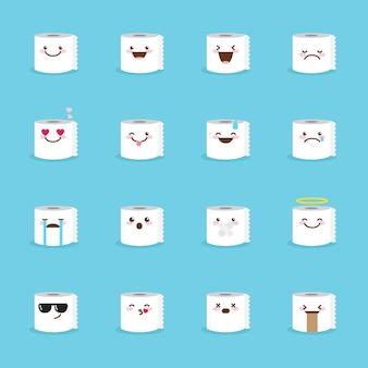 Zestaw ikon emoji papieru toaletowego