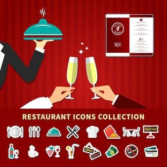 Zestaw ikon emoji restauracji