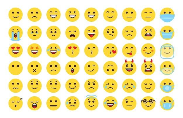 Zestaw ikon emoji twarzy