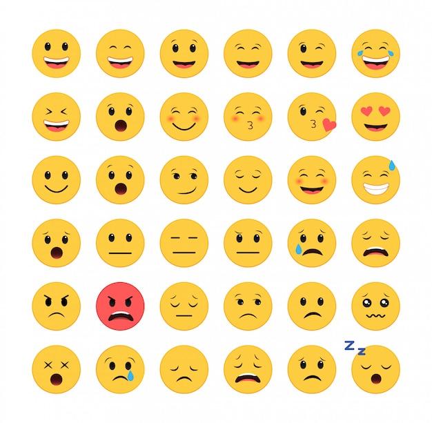 Zestaw ikon emotikonów. emotikony