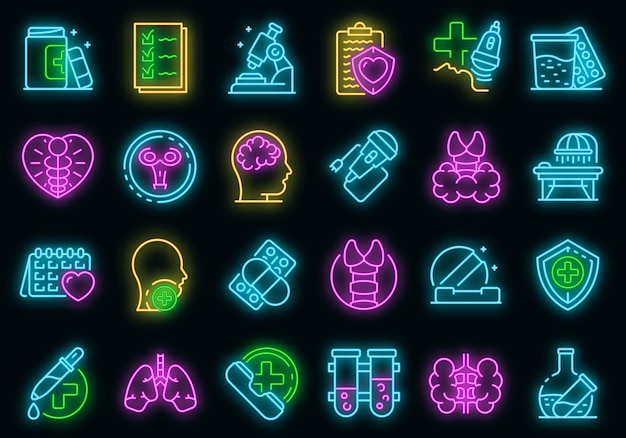 Zestaw ikon endokrynologa. zarys zestaw ikon wektorowych endokrynologa w kolorze neonowym na czarno