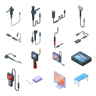 Zestaw ikon endoskopu. izometryczny zestaw ikon wektorowych endoskopu do projektowania stron internetowych na białym tle