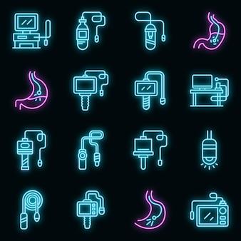 Zestaw ikon endoskopu. zarys zestaw ikon wektorowych endoskopu w kolorze neonowym na czarno
