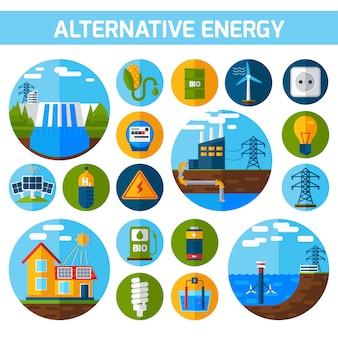Zestaw ikon energii alternatywnej
