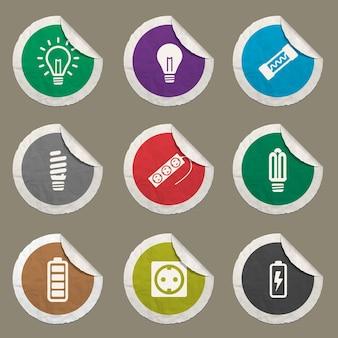Zestaw ikon energii elektrycznej dla stron internetowych i interfejsu użytkownika