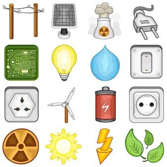 Zestaw ikon energii elektrycznej i energii