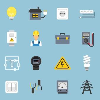 Zestaw ikon energii elektrycznej