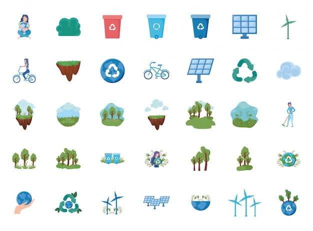 Zestaw ikon energii odnawialnej na białym tle