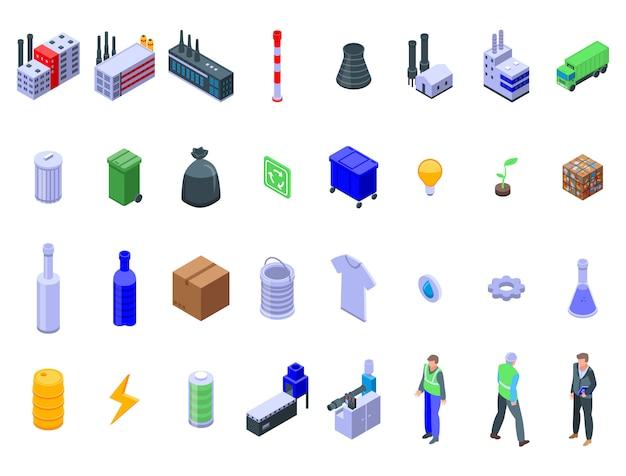 Zestaw ikon fabryki recyklingu, izometryczny styl