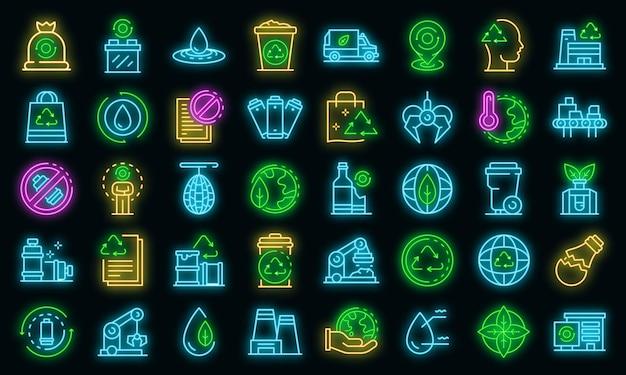 Zestaw ikon fabryki recyklingu. zarys zestaw ikon wektorowych fabryki recyklingu w kolorze neonowym na czarno