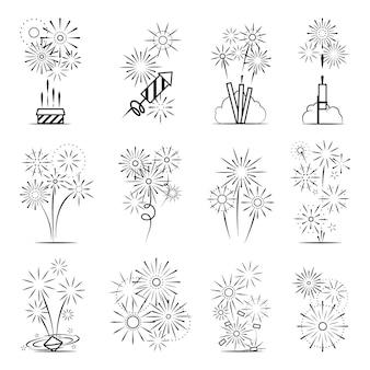 Zestaw ikon fajerwerków. czarna linia celebracja fajerwerki ikony na białym tle. ilustracja wektorowa