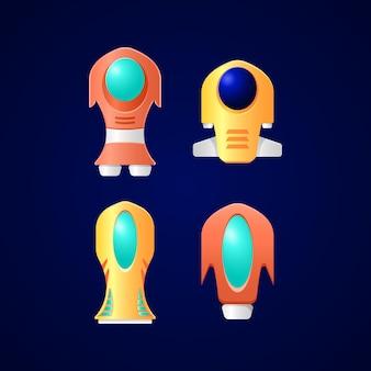 Zestaw ikon fantasy statku kosmicznego interfejsu użytkownika dla elementów aktywów gui