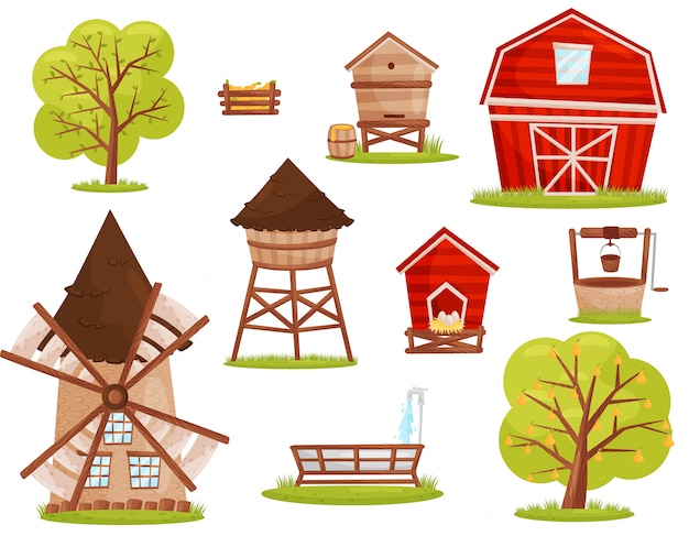 Zestaw ikon farmy. budynki, konstrukcje i drzewa owocowe. elementy do gry mobilnej lub książki dla dzieci