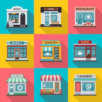 Zestaw ikon fasady budynku płaski sklep. wektorowa ilustracja dla lokalnego rynku sklepu domu projekta. sklep z fasadami, rynek handlowy od strony ulicy