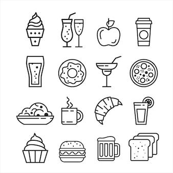 Zestaw ikon fast fast foodów