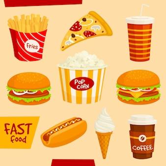 Zestaw ikon fast food. fastfood przekąski i napoje na białym tle elementy. burger, hamburger, frytki, hot dog, cheeseburger, pizza, popcorn, lody