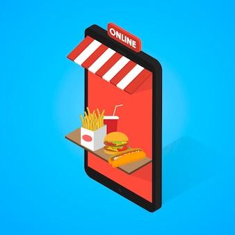 Zestaw ikon fast food izometryczny. tablet, telefon komórkowy. wektor 3d płaska konstrukcja