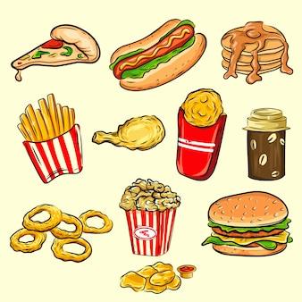 Zestaw ikon fast food kolorowy kreskówka. na białym tle wektor