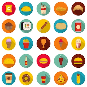 Zestaw ikon fast food, płaski
