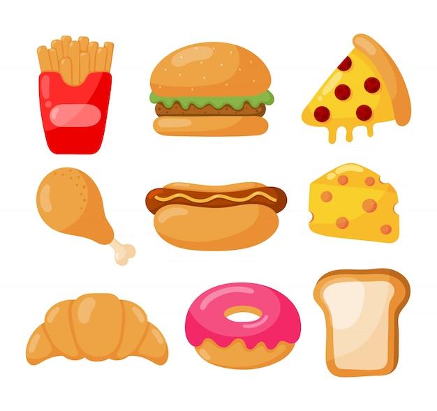 Zestaw ikon fast food styl kreskówka na białym tle
