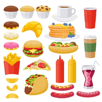 Zestaw ikon fast food.
