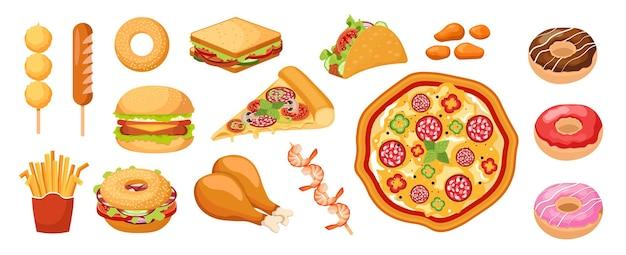 Zestaw ikon fastfood, jedzenie na wynos, frytki, słodkie pączki, kanapki. udka z kurczaka, nuggetsy i pizza z kiełbasą