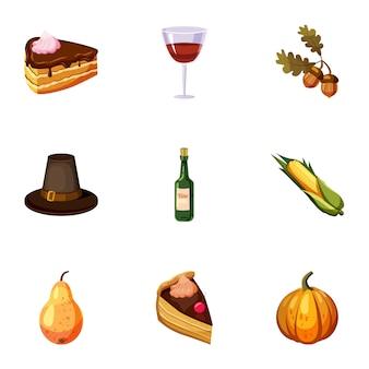 Zestaw ikon festiwalu jesień, stylu cartoon