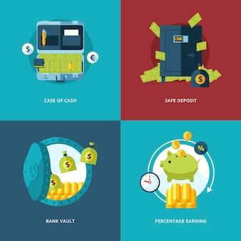Zestaw ikon finansów i pieniędzy. ilustracja dotycząca gotówki, sejfu, skarbca bankowego i procentowego zysku.