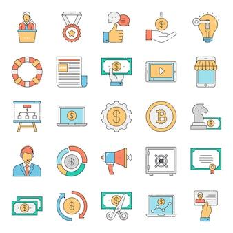 Zestaw ikon finansowych płaski