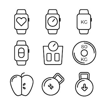 Zestaw ikon fitness i sport. symbole zdrowego stylu życia.