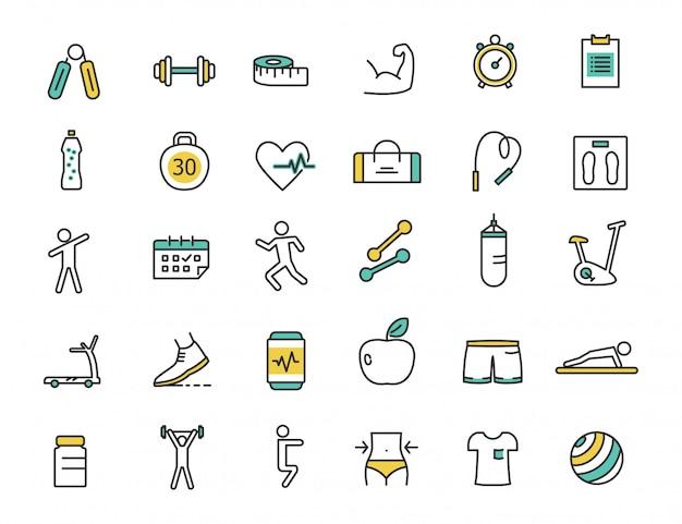 Zestaw ikon fitness liniowy ikony siłowni