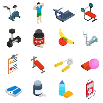 Zestaw ikon fitness na białym tle