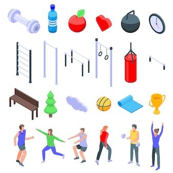 Zestaw ikon fitness na świeżym powietrzu, izometryczny styl