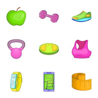 Zestaw ikon fitness, stylu cartoon