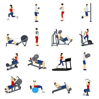 Zestaw ikon fitness szkolenia siłowni