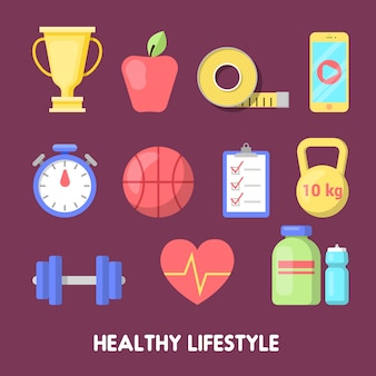 Zestaw ikon fitness zdrowego stylu życia.