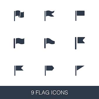 Zestaw ikon flag. proste znaki glifów. szablon symbolu flagi. uniwersalna ikona stylu, może być używana w interfejsie internetowym i mobilnym