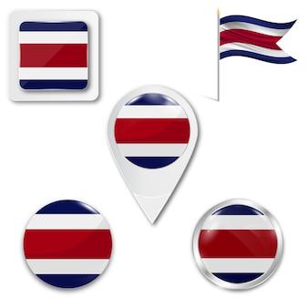 Zestaw ikon flagi narodowej kostaryki