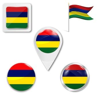 Zestaw ikon flagi narodowej muritius