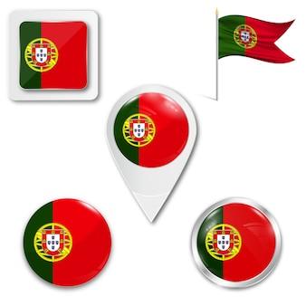 Zestaw ikon flagi narodowej portugalii